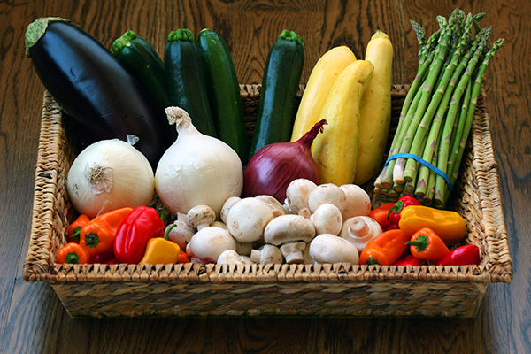 veggies - in basket for grilling