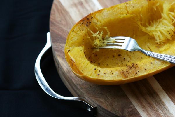 spaghetti squash with parmesan and fresh herbs - fork