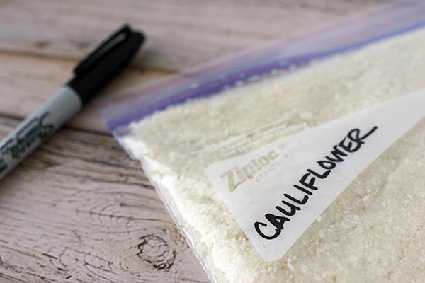 cauliflower rice in ziplock