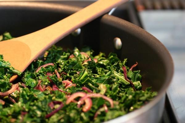 roasted portobellos with kale - saute