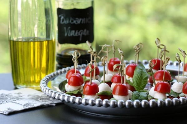 caprese salad on a stick - with oil and vinegar
