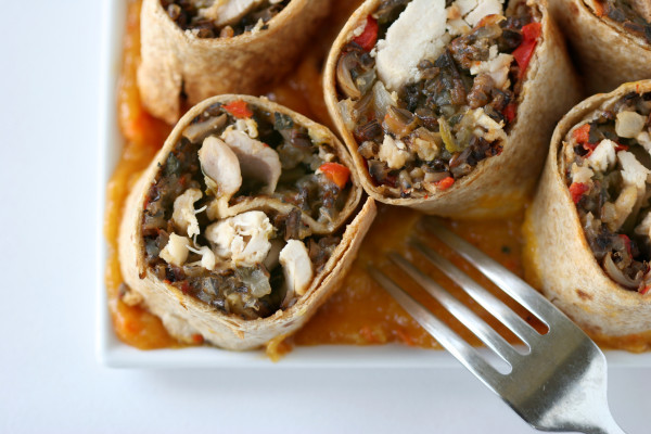 Chicken Wild Rice Burrito with Mango Habanero Sauce