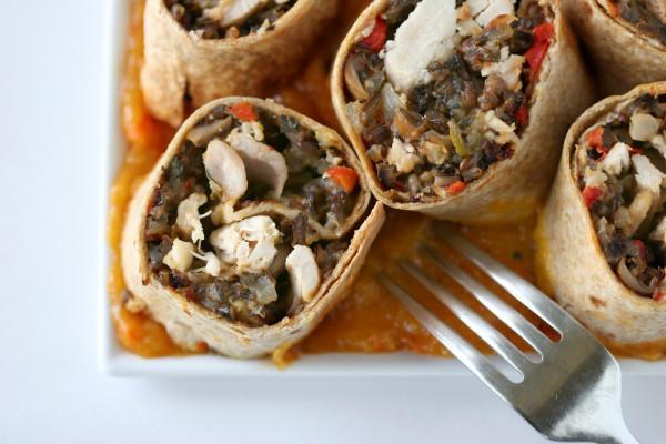Chicken Wild Rice Burrito with Mango Habanero Sauce