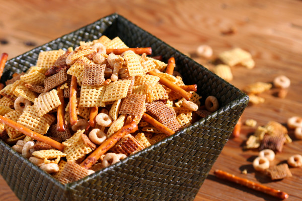 chex mix - on wood table