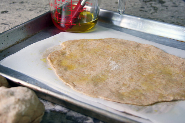 grilled pizza crust - parchment