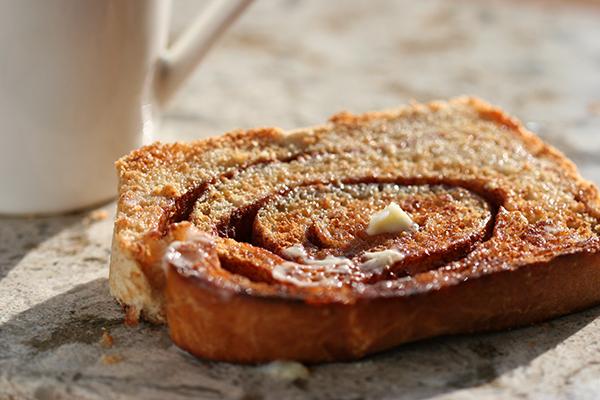 cinnamon swirl bread - toasted