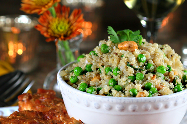 indian dinner - peas pulao 600x400