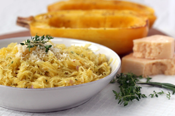spaghetti squash with parmesan and fresh herbs - plated