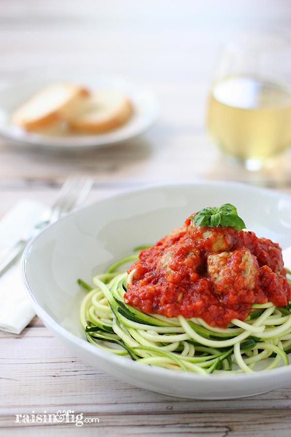 zucchini pasta turkey meatballs