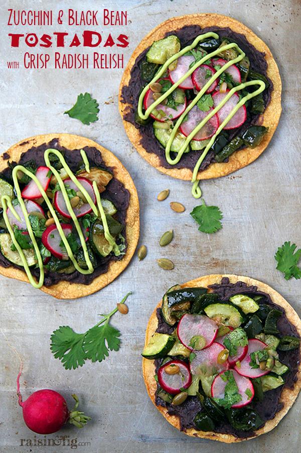 black bean tostadas with crisp radish relish
