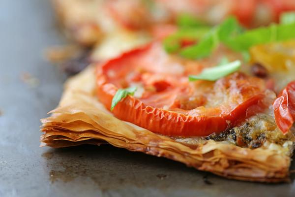 tomato basil phyllo tart