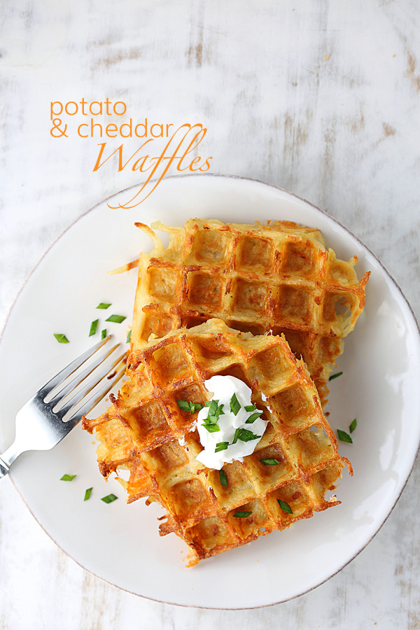 potato and cheddar waffles