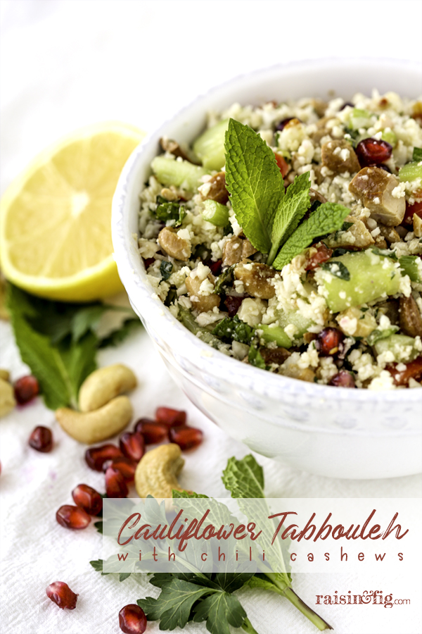 cauliflower tabbouleh with chili cashews